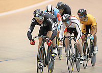 New Zealand's Simon van Velthooven, left, and Tom Beadle in the mens keirin at the UCI Tier 1 Festival of Speed, SIT Zero Fees Velodrome, Invercargill, New Zealand, Saturday, November 16, 2013. Credit:NINZ/Dianne Manson