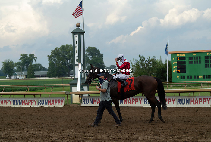 Art Geroux and Lady Kate head back to the paddock after winning the ninth race at Ellis Park in Henderson, Ky., Sunday afternoon, Aug. 9, 2020.