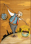 Illustrative image of senior man with globe and banknote in scale representing imbalance