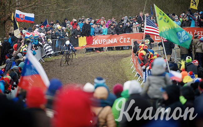 Lucie Chainel-Lefevre (FRA) leading the race<br /> <br /> Elite Women's Race<br /> <br /> 2015 UCI World Championships Cyclocross <br /> Tabor, Czech Republic