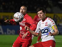 FC GULLEGEM - KV KORTRIJK :<br /> vriendschappelijke wedstrijd<br /> Erwin Seignez (L) en Hannes Van Der Bruggen (R)<br /> <br /> Foto VDB / Bart Vandenbroucke