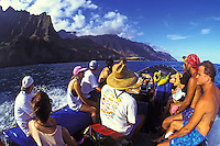 EDITORIAL ONLY. Zodiac ride along the Na Pali coast to Kalalau Valley, north shore, Kauai