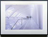 """Musings on Calatrava Design 6, Milwaukee<br /> <br /> Signed, Limited Edition Giclee print on fine art paper.<br /> <br /> Image size 15""""h x 22.5""""w on 17"""" x 25"""" sheet. Framed size 20.75""""h x 28.75""""w. Nielsen 117 Matte Black frame with non-glare acrylic glazing.<br /> <br /> $700. Available thru Beacon Gallery."""