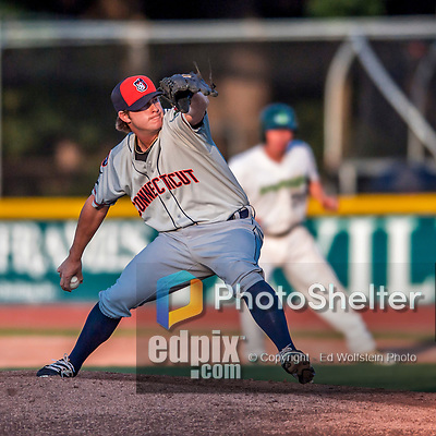 20 August 2017: Connecticut Tigers pitcher Burris Warner on the mound against the Vermont Lake Monsters at Centennial Field in Burlington, Vermont. The Lake Monsters rallied to edge out the Tigers 6-5 in 13 innings of NY Penn League action.  Mandatory Credit: Ed Wolfstein Photo *** RAW (NEF) Image File Available ***