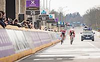 Kasper Asgreen (DEN/Deceuninck - Quick Step) & defending champion Mathieu Van der Poel (NED/Alpecin-Fenix) at the very moment Van der Poel sits up realising he lost the 105th Ronde van Vlaanderen 2021 (MEN1.UWT) <br /> <br /> 1 day race from Antwerp to Oudenaarde (BEL/264km) <br /> <br /> ©kramon