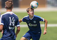 Irvine, CA - July 10, 2019: U.S. Soccer Boys' DA U-18/19 Third Place Sockers FC vs Solar Soccer Club at Great Park.