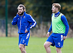 St Johnstone Training….21.10.20     <br />Stevie May and Liam Craig pictured during training at McDiarmid Park ahead of Saturday's game against Dundee United.<br />Picture by Graeme Hart.<br />Copyright Perthshire Picture Agency<br />Tel: 01738 623350  Mobile: 07990 594431