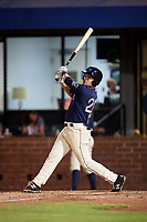 Mobile BayBears first baseman Matt Thaiss (21) follows through on a swing during a game against the Chattanooga Lookouts on May 5, 2018 at Hank Aaron Stadium in Mobile, Alabama.  Chattanooga defeated Mobile 11-5.  (Mike Janes/Four Seam Images)
