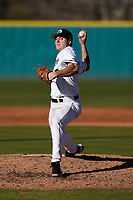 Starting pitcher Jordan Marks (33) of the University of South Carolina Upstate Spartans earned his first win of the season, 14-2, with nine strikeouts on six innings in an Opening Day game against the University of Toledo Rockets on Friday, February 19, 2021, at Cleveland S. Harley Park in Spartanburg, South Carolina. (Tom Priddy/Four Seam Images)