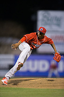 Lakewood BlueClaws starting pitcher Sixto Sanchez (23) follows through on his delivery against the Kannapolis Intimidators at Kannapolis Intimidators Stadium on April 7, 2017 in Kannapolis, North Carolina.  The BlueClaws defeated the Intimidators 6-4.  (Brian Westerholt/Four Seam Images)