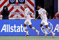 20th November 2020; Foxborough, MA, USA;  Montreal Impact forward Romell Quioto celebrates his goal during the MLS Cup Play-In game between the New England Revolution and the Montreal Impact
