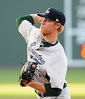 Starting pitcher Mike Foltynewicz (25) of the Lexington Legends, a Houston Astros affiliate, in a game against the Greenville Drive on May 2, 2012, at Fluor Field at the West End in Greenville, South Carolina. Foltynewicz is the No. 9 prospect for the Astros, according to Baseball America.(Tom Priddy/Four Seam Images)