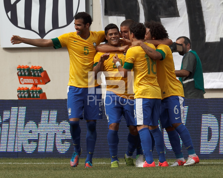 Brazil forward Hulk (20) celebrates his goal with teammates. In an international friendly (Clash of Titans), Argentina defeated Brazil, 4-3, at MetLife Stadium on June 9, 2012.