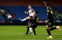 Bolton Wanderers' Tom White competing with Newcastle United U21's Rodrigo Vilca (centre)  <br /> <br /> Photographer Andrew Kearns/CameraSport<br /> <br /> EFL Papa John's Trophy - Northern Section - Group C - Bolton Wanderers v Newcastle United U21 - Tuesday 17th November 2020 - University of Bolton Stadium - Bolton<br />  <br /> World Copyright © 2020 CameraSport. All rights reserved. 43 Linden Ave. Countesthorpe. Leicester. England. LE8 5PG - Tel: +44 (0) 116 277 4147 - admin@camerasport.com - www.camerasport.com