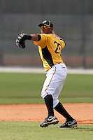 Pittsburgh Pirates third baseman Yhonathan Barrios #25 during an Instructional League game against the Philadelphia Phillies at Pirate City on October 11, 2011 in Bradenton, Florida.  (Mike Janes/Four Seam Images)