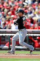 Miami Marlins first baseman Greg Dobbs #29 during a game against the Cincinnati Reds at Great American Ball Park on April 20, 2013 in Cincinnati, Ohio.  Cincinnati defeated Miami 3-2 in 13 innings.  (Mike Janes/Four Seam Images)