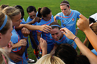 Sky Blue FC huddles before the game. Sky Blue FC defeated the Philadelphia Independence 2-0 during a Women's Professional Soccer (WPS) match at Yurcak Field in Piscataway, NJ, on July 23, 2011.