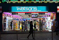 A Watsons personal store in Hong Kong that sells cosmetics pharmaceutical products. Watsons is owned by Hutchison Whampoa Ltd (0013.HK), Hong Kong billionaire Li Ka-shing' who owns flagship ports-to-telecoms company, is set to post a record high first-half net profit, thanks in part to hefty one-off gains from the spin-off of its port assets..