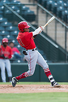 AZL Angels center fielder Jordyn Adams (21) follows through on his swing during an Arizona League game against the AZL Diamondbacks at Tempe Diablo Stadium on July 16, 2018 in Tempe, Arizona. The AZL Diamondbacks defeated the AZL Angels by a score of 4-3. (Zachary Lucy/Four Seam Images)