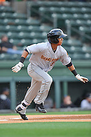 Second baseman Thairo Estrada (3) of the Charleston RiverDogs bats in a game against the Greenville Drive on Tuesday May 17, 2016, at Fluor Field at the West End in Greenville, South Carolina. Greenville won, 4-2. (Tom Priddy/Four Seam Images)