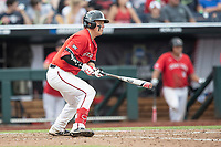 Texas Tech Red Raiders second baseman Brian Klein (5) follows through on his swing during Game 5 of the NCAA College World Series against the Arkansas Razorbacks on June 17, 2019 at TD Ameritrade Park in Omaha, Nebraska. Texas Tech defeated Arkansas 5-4. (Andrew Woolley/Four Seam Images)