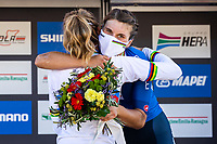 Picture by Alex Whitehead/SWpix.com - 26/09/2020 - Cycling - 2020 UCI Road World Championships - Imola, Emilia-Romagna, Italy - Elisa Longo Borghini of Italy (Bronze) celebrates with Anna van der Breggen of the Netherlands (Gold). - SANTINI