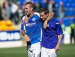 St Johnstone v Celtic....15.09.12      SPL  .Rowan Vine celebrates with Peter Pawlett at full time.Picture by Graeme Hart..Copyright Perthshire Picture Agency.Tel: 01738 623350  Mobile: 07990 594431