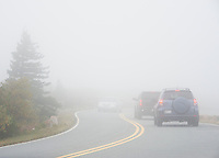 Driving in low visibility conditions, Cadillac Mountain, Acadia National Park, Maine, USA