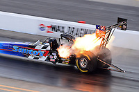 Sept. 14, 2012; Concord, NC, USA: NHRA top fuel dragster driver Cory McClenathan blows a head gasket during qualifying for the O'Reilly Auto Parts Nationals at zMax Dragway. Mandatory Credit: Mark J. Rebilas-