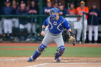 Seton Hall Pirates catcher Tyler Boyd (30) waits for a throw at home plate during the game against the Virginia Cavaliers at The Ripken Experience on February 28, 2015 in Myrtle Beach, South Carolina.  The Cavaliers defeated the Pirates 4-1.  (Brian Westerholt/Four Seam Images)