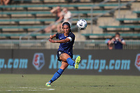 CARY, NC - SEPTEMBER 12: Abby Erceg #6 of the North Carolina Courage passes the ball during a game between Portland Thorns FC and North Carolina Courage at Sahlen's Stadium at WakeMed Soccer Park on September 12, 2021 in Cary, North Carolina.