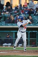 Tyler Ramirez (38) of the Stockton Ports bats against the Lancaster JetHawks at The Hanger on May 12, 2017 in Lancaster, California. Lancaster defeated Stockton, 7-2. (Larry Goren/Four Seam Images)