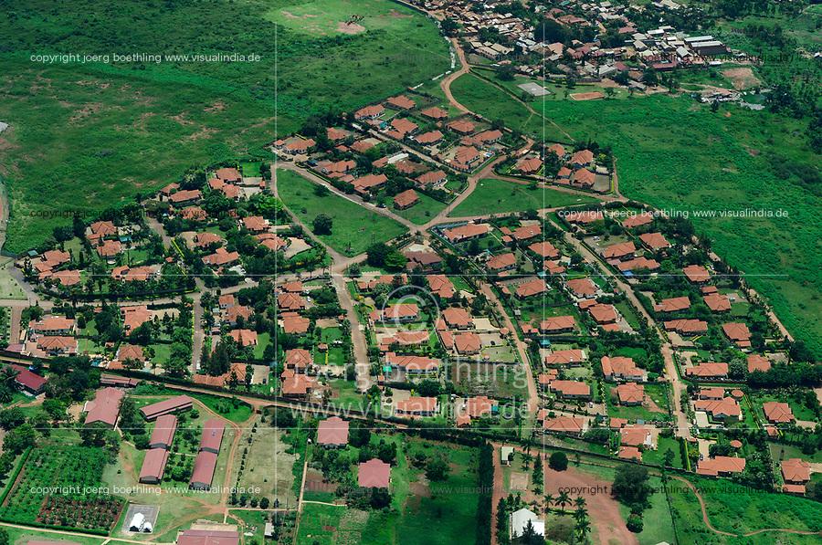 UGANDA, Kampala, aerial view of gated community