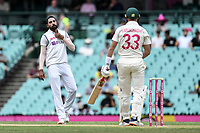 7th January 2021; Sydney Cricket Ground, Sydney, New South Wales, Australia; International Test Cricket, Third Test Day One, Australia versus India; Mohammed Siraj of India gives Marnus Labuschagne of Australia the stare