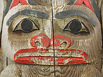 Weathered totem pole in Sechelt.