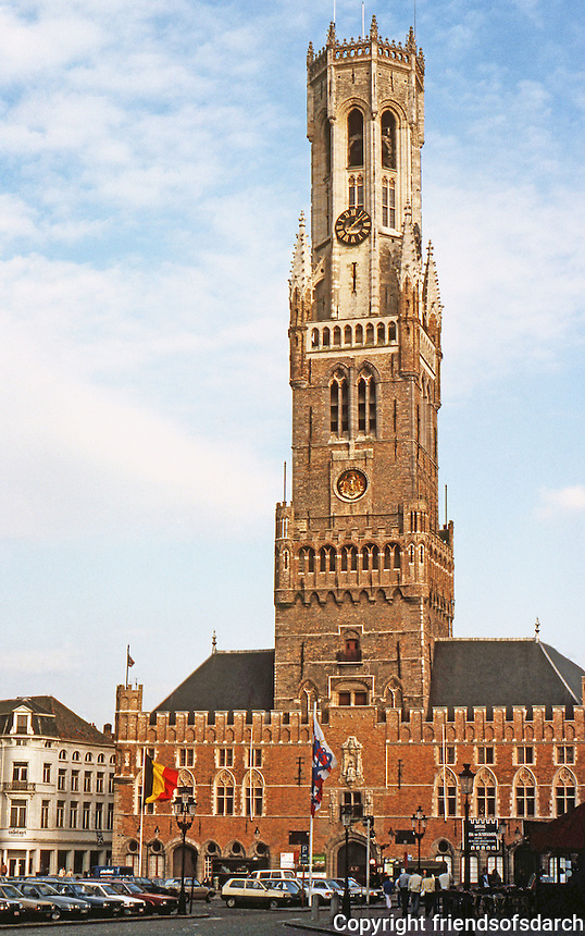 Bruges: The Halles and Belfry Tower, 83 M. high. Built in two stages--13th & 15th century.  Photo '87.