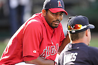 Howie Kendrick #47 of the Los Angeles Angels visits with Chipper Jones #10 of the Atlanta Braves before game at Angel Stadium in Anaheim,California on May 21, 2011. Photo by Larry Goren/Four Seam Images