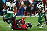 10th October 2021; Tottenham Hotspur stadium, London, England; NFL UK Series, Atlanta Falcons versus New York Jets: Atlanta Falcons Tight end Kyle Pitts (8) receives a pass resulting in a first down