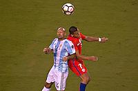 Action photo during the match Argentina vs Chile corresponding to the Final of America Cup Centenary 2016, at MetLife Stadium.<br /> <br /> Foto durante al partido Argentina vs Chile cprresponidente a la Final de la Copa America Centenario USA 2016 en el Estadio MetLife , en la foto:(i-d) Javier Mascherano de Argentina y Alexis Sanchez de Chile<br /> <br /> <br /> 26/06/2016/MEXSPORT/JAVIER RAMIREZ