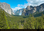 Yosemite Valley in Spring with Prescribed Burn in El Capitan Meadow, El Capitan, Clouds Rest, Half Dome, Sentinel Rock, Sentinel Dome, Bridalveil Fall and Cathedral Rocks, Discovery View, Tunnel View, Yosemite National Park