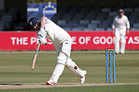 Jack Burnham hits 4 runs for  Durham during Essex CCC vs Durham CCC, LV Insurance County Championship Group 1 Cricket at The Cloudfm County Ground on 18th April 2021
