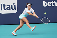 3rd April 2021; Miami Gardens, Miami, Florida, USA;   Bianca Andreescu (CAN) hits a backhand during the women's finals of the Miami Open on April 3, 2021, at Hard Rock Stadium in Miami Gardens, Florida.