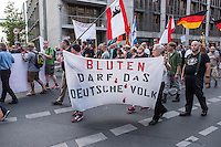 """Neonazis und Hooligans demonstrieren gegen Angela Merkel.<br /> Unter dem Motto """"Merkel muss weg"""" zogen ca. 1.200 am Samstag den 30. Juli 2016 mit einer Demonstration durch Berlin. Der Aufmarsch war vom einschlaegig bekannten Neonazi-Hooligan Enrico Stubbe angemeldet worden.<br /> Die Polizei hatte die Aufmarschroute der Rechten weitraeumig abgesperrt.<br /> Die Rechten forderten in Sprechchoeren immer wieder """"Nationalen Sozialismus! Jetzt!"""" (ein strafrechtlicher Trick, gemeint ist der Nationalsozialismus), beschimpften waehrend ihres Aufmarsches permanent Gegendemonstranten """"Wir kriegen euch alle"""" und """"Hurensoehne"""" und die Medienvertreter """"Luegenpresse"""". Mitarbeiter der Sicherheitsbehoerden erklaerten, dass es eindeutig ein rechtsextremer Aufmarsch gewesen sei bei dem sich keinerlei buergerliche Teilnehmer beteiligt haetten. Der Berliner Chef des Landesamt fuer Verfassungsschutz war persoenlich vor Ort um sich einen Eindruck zu verschaffen.<br /> Im Bild: Demonstrationsteilnehmer tragen ein Transparent """"Bluten darf das deutsche Volk"""".<br /> 30.7.2016, Berlin<br /> Copyright: Christian-Ditsch.de<br /> [Inhaltsveraendernde Manipulation des Fotos nur nach ausdruecklicher Genehmigung des Fotografen. Vereinbarungen ueber Abtretung von Persoenlichkeitsrechten/Model Release der abgebildeten Person/Personen liegen nicht vor. NO MODEL RELEASE! Nur fuer Redaktionelle Zwecke. Don't publish without copyright Christian-Ditsch.de, Veroeffentlichung nur mit Fotografennennung, sowie gegen Honorar, MwSt. und Beleg. Konto: I N G - D i B a, IBAN DE58500105175400192269, BIC INGDDEFFXXX, Kontakt: post@christian-ditsch.de<br /> Bei der Bearbeitung der Dateiinformationen darf die Urheberkennzeichnung in den EXIF- und  IPTC-Daten nicht entfernt werden, diese sind in digitalen Medien nach §95c UrhG rechtlich geschuetzt. Der Urhebervermerk wird gemaess §13 UrhG verlangt.]"""