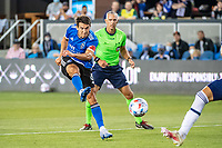 SAN JOSE, CA - AUGUST 13: Shea Salinas #6 of the San Jose Earthquakes shoots the ball during a game between San Jose Earthquakes and Vancouver Whitecaps at PayPal Park on August 13, 2021 in San Jose, California.
