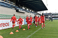 players of Zulte Waregem pictured during the warming up of a female soccer game between Eendracht Aalst and SV Zulte Waregem on the seventh matchday of the 2020 - 2021 season of Belgian Scooore Womens Super League , Saturday 14 th of November 2020  in Aalst , Belgium . PHOTO SPORTPIX.BE | SPP | DIRK VUYLSTEKE