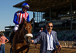 September 29 2018 : Bellafina with Flavien Prat is lead to the winner circle by owner Kaleem Shaw after winning The Chandelier Stakes on Breeders Cup Preview Day at <br /> Santa Anita Park on September 29, 2018 in Arcadia, California. Evers/ESW/CSM