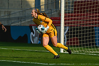 BRIDGEVIEW, IL - JULY 18: Cassie Miller #38 of the Chicago Red Stars controls the ball during a game between OL Reign and Chicago Red Stars at SeatGeek Stadium on July 18, 2021 in Bridgeview, Illinois.