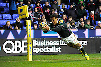 Ofisa Treviranus of London Irish dives over to score a try during the Aviva Premiership match between London Irish and Saracens at the Madejski Stadium on Saturday 9th February 2013 (Photo by Rob Munro)