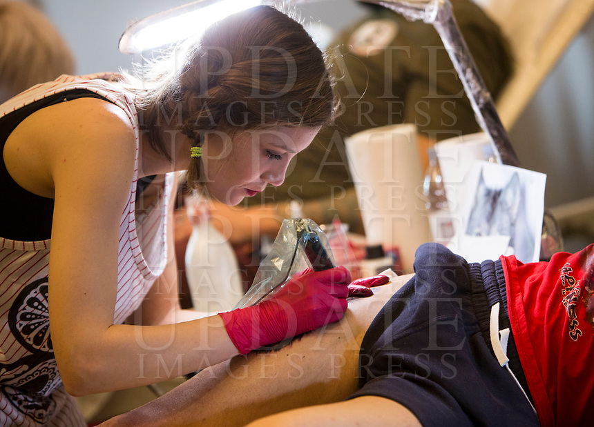 """""""The other side of the ink"""", convention di tatuaggio femminile, Roma, 12 marzo 2017.<br /> """"The other side of the ink"""" female art tattoo convention in Rome, 12 March 2017.<br /> UPDATE IMAGES PRESS/Riccardo De Luca"""