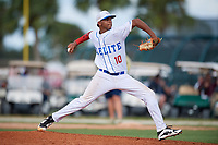Cristhian Nuñez during the WWBA World Championship at the Roger Dean Complex on October 20, 2018 in Jupiter, Florida.  Cristhian Nuñez is a right handed pitcher from Santiago, ST who attends Cenepac High School.  (Mike Janes/Four Seam Images)